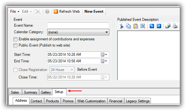 Event Record - Setup Tab