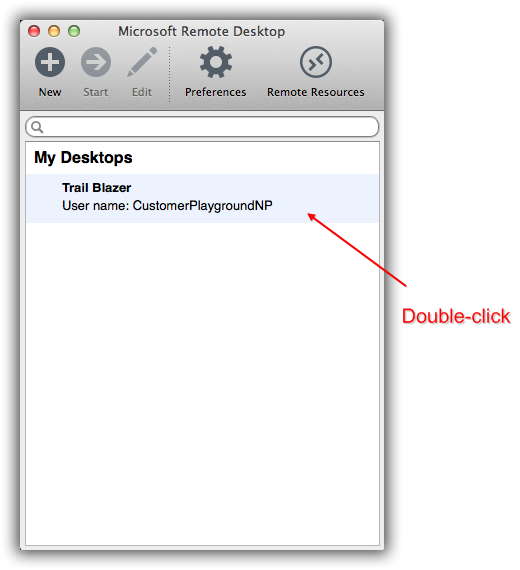 Configure microsoft remote desktop for mac users bilogging double click the name of the remote desktop you want to log into in my example i used the desktop created in section 1 of this article called yelopaper Gallery