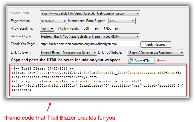 Trail Blazer How to Put your Trail Blazer Donation Form on your