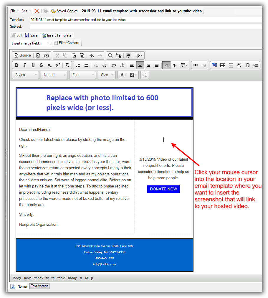insert pdf into body of email with hyperlinks