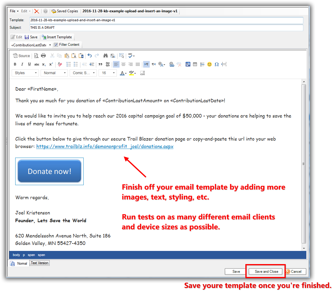 How To Upload And Insert An Image Into An Email - Save email as template