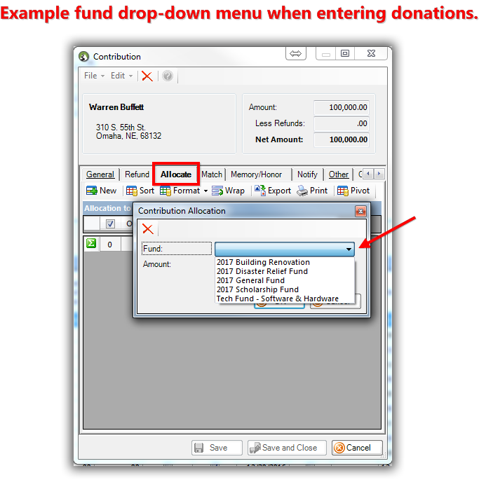 How To Add And Remove Allocation Funds To The Donation Form Drop Down  Inside The Trail Blazer Database  Donation Form Example